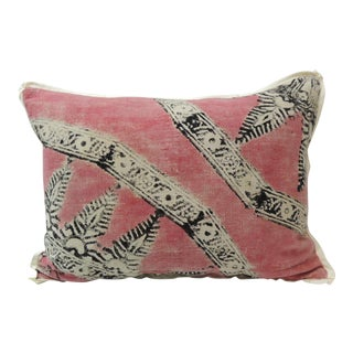 Vintage Pink and Black Hand Blocked Bolster Decorative Pillow For Sale