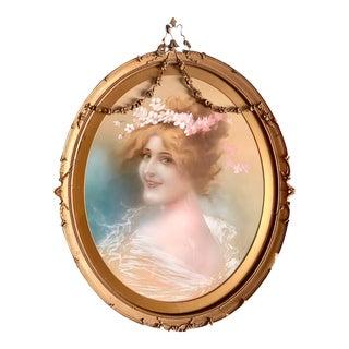 Antique French Art Nouveau Hand Tinted Portrait in Original Gesso Frame For Sale