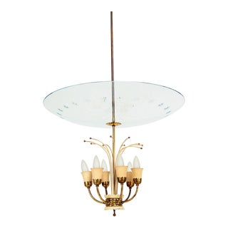 Italian Glass Chandelier After Fontana Arte, Max Ingrand 1950s For Sale