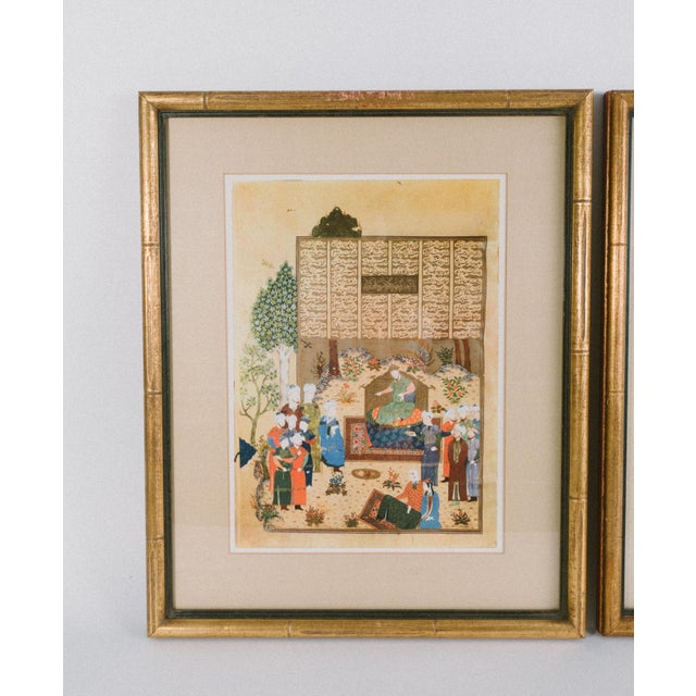 Persian 1960s Vintage Persian Miniature Framed Prints - A Pair For Sale - Image 3 of 13