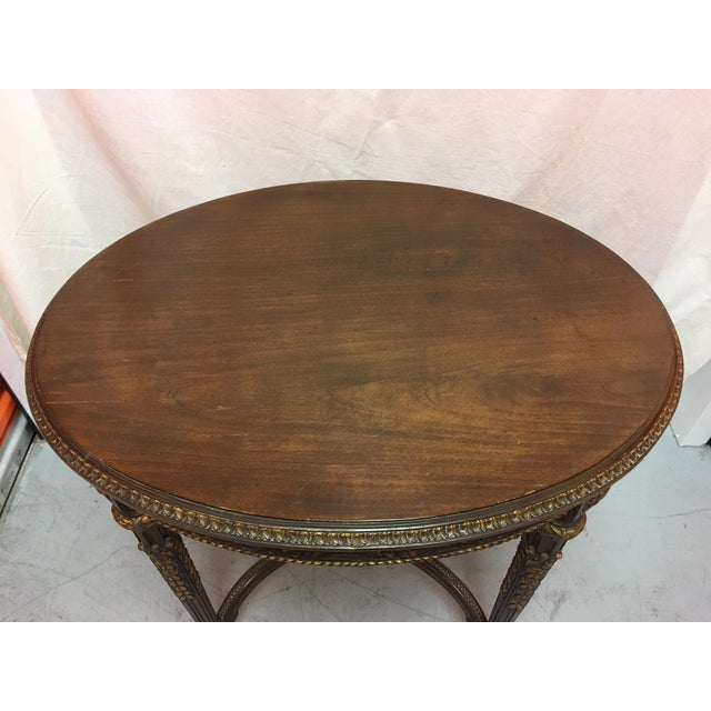 French French Mahogany Oval Table With Gold Painted Ormolu, Early 20th Century For Sale - Image 3 of 8