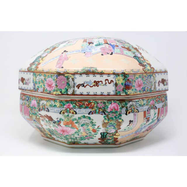 A rare, vintage octagonal famille rose medallion treasure bowl and lid, covered with intricate hand-painted scenes and...