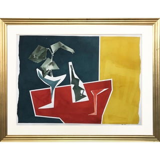 Abstract Still Life With Wine-Watercolor by Roger Stokes