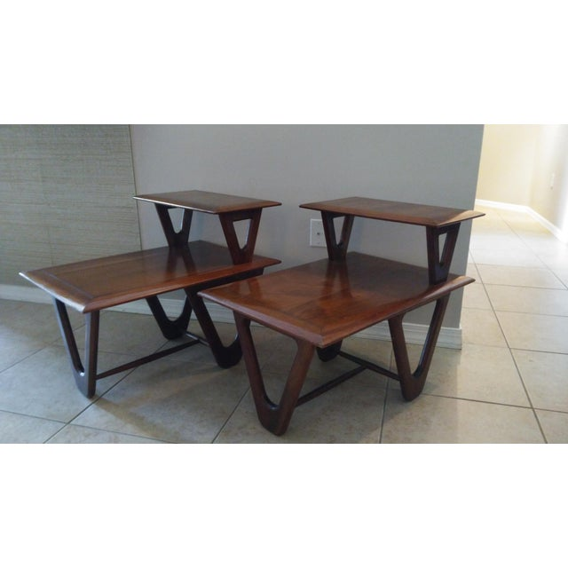 Mid-Century Modern Tiered Walnut Side Tables - Pair - Image 2 of 8