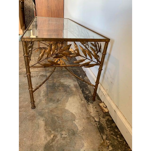 Hollywood Regency Vintage Hollywood Regency Gilded Metal Coffee Table W/Bamboo Leaf Design & Glass Top For Sale - Image 3 of 7