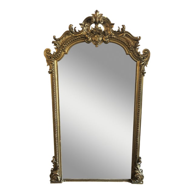 19th Century Antique French Louis XV Gilt Mirror For Sale