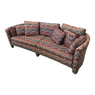 Mid-Century Missoni Style Flame-Stitch Curved Conversation Sofa For Sale