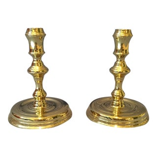 Pair of Polished Brass Candleholders