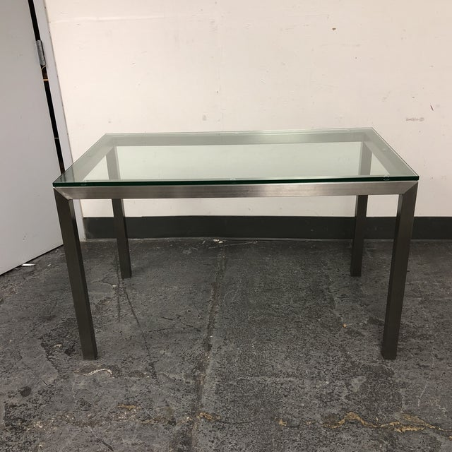 Crate Barrel Parsons Stainless Steel Glass Table Chairish