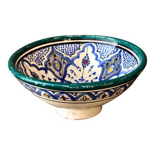 Vintage Moroccan Pottery Pedestal Bowl For Sale