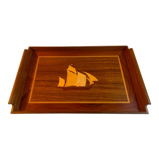 Teak Marquetry Serving Tray With Inlay Ship Motif For Sale
