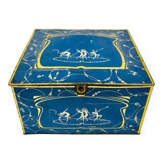 Antique Dancing Nymph Blue Tin Box For Sale