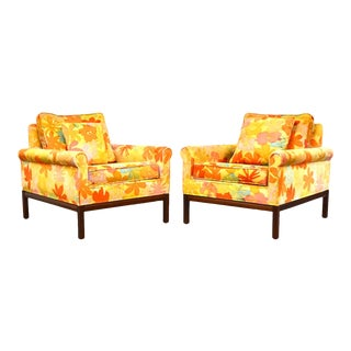 Mid Century Walnut Lounge Chairs - a Pair For Sale