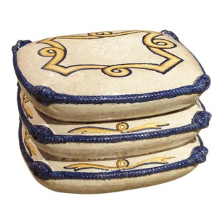 Decorative Glazed Terracotta Pillow Stack From Italy, 1940s For Sale