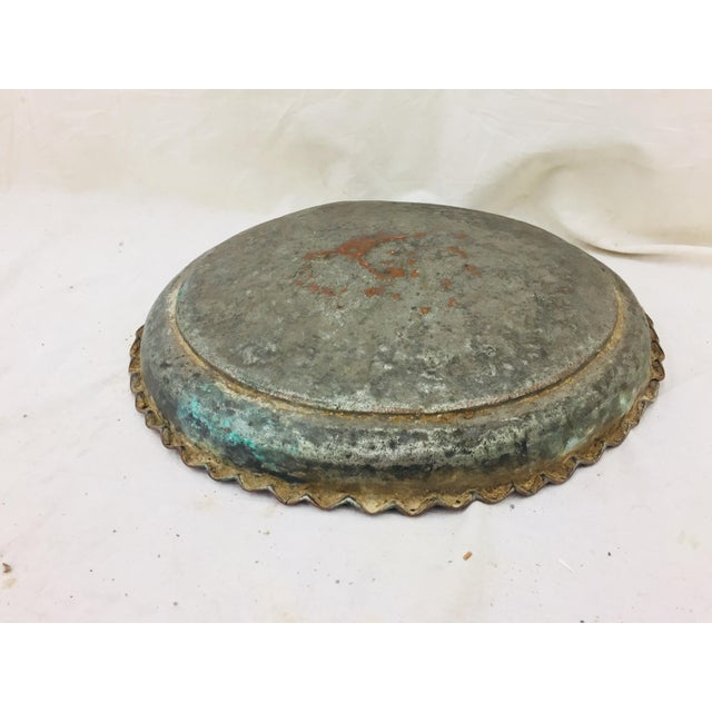 Copper Antique Turkish Pounded Copper Platter For Sale - Image 7 of 8