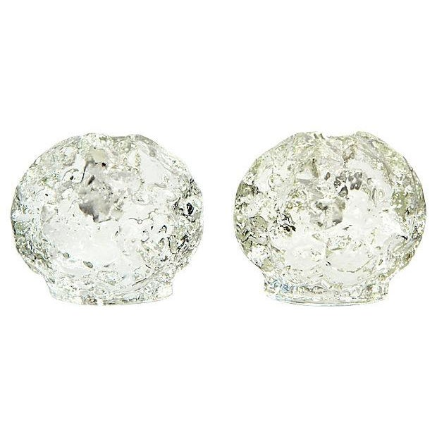 Glass Textured Ball Candle Holders - A Pair - Image 1 of 3