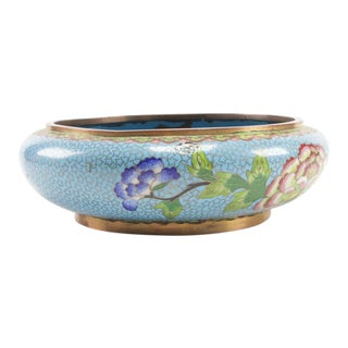 Mid 20th Century Cloisonné Champlevé Floral Bowl For Sale