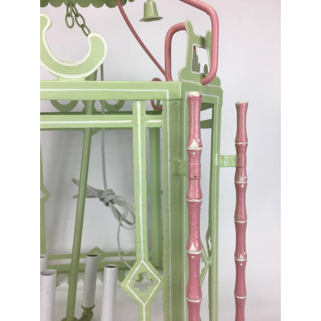 Traditional 1970s Traditional Pagoda-Top Light Green Tole Lantern For Sale - Image 3 of 5