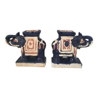 Navy Elephant Bookends - a Pair
