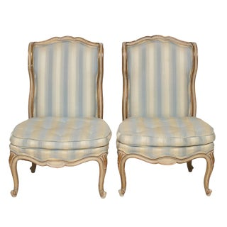 Vintage Mid Century Boudoir Slipper Chairs- a Pair For Sale