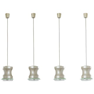 Stilnovo, Set of Four Lusters, Metal, Aluminium and Glass, Circa 1960, Italy