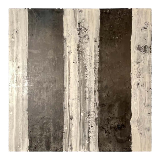 "Lynn Basa Encaustic Black and White Stripe Panel ""Camino"", 2018 For Sale"