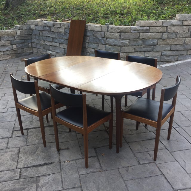 Walnut Mid Century Modern Dining Table With Two Leafs - Image 11 of 11