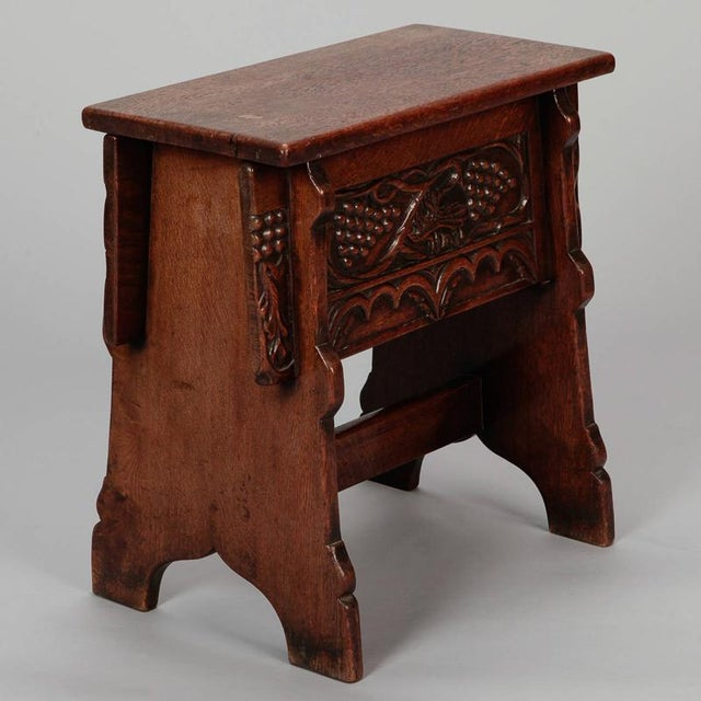 French Carved French Oak Flip Top Stool With Grapes For Sale - Image 3 of 8