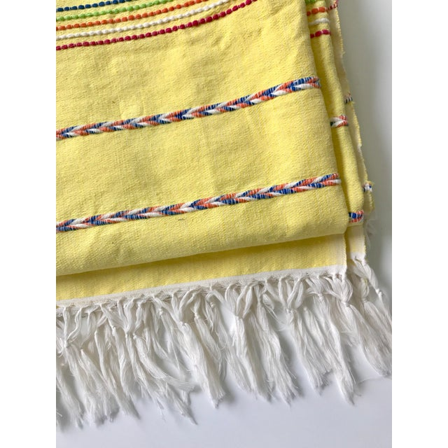 Boho Chic Yellow Throw Blanket With Fringe For Sale - Image 3 of 8