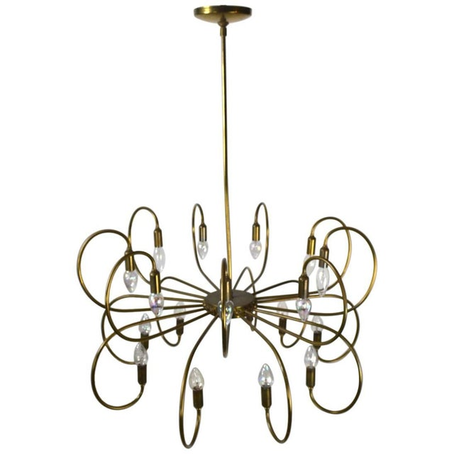 Gold Large Eighteen-Light Brass Chandelier After Sarfatti For Sale - Image 8 of 8