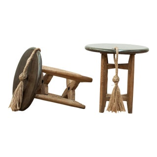 Black Marble Wine and Cheese Side Tables - a Pair For Sale