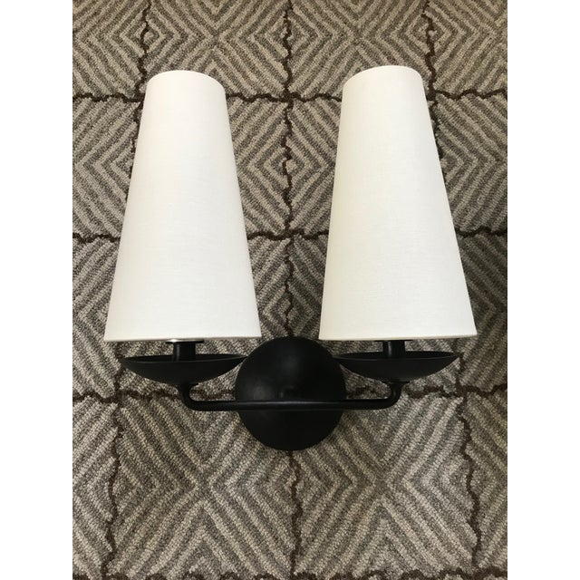 Black Aerin Fontaine Double Sconces With Shades - a Pair For Sale - Image 8 of 12