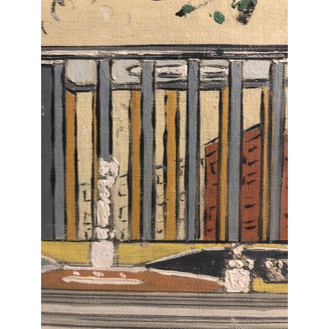 Mid-Century Oil on Canvas of a Modern Classical Courtyard With Sculpture 1960s For Sale - Image 6 of 9