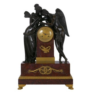 "Circa 1815 French Empire Antique Bronze Sculpture Mantel Clock ""Cupid & Psyche"" For Sale"