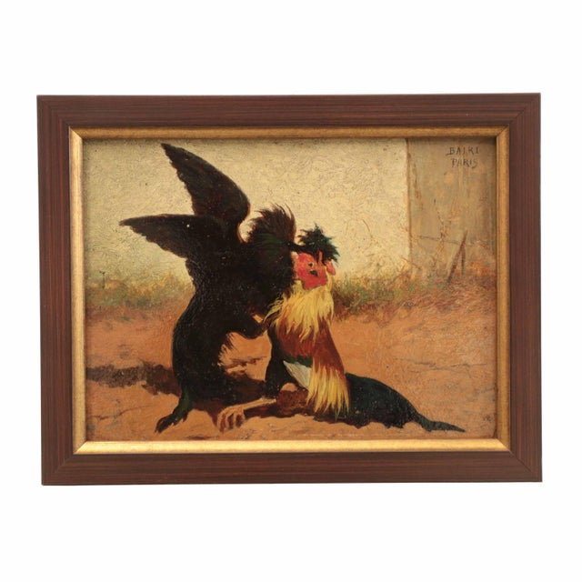 Set of Four William Baird Barbizon Paintings of Cocks Fighting For Sale - Image 4 of 10