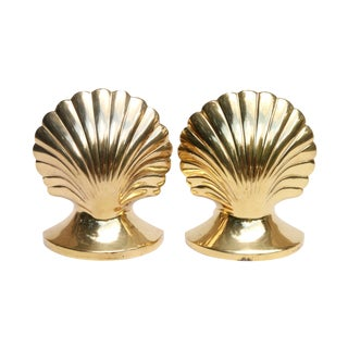 Brass Scallop Shell Bookends, a Pair For Sale