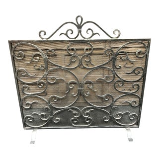 French Country Pierre Deux Metal Fireplace Screen For Sale