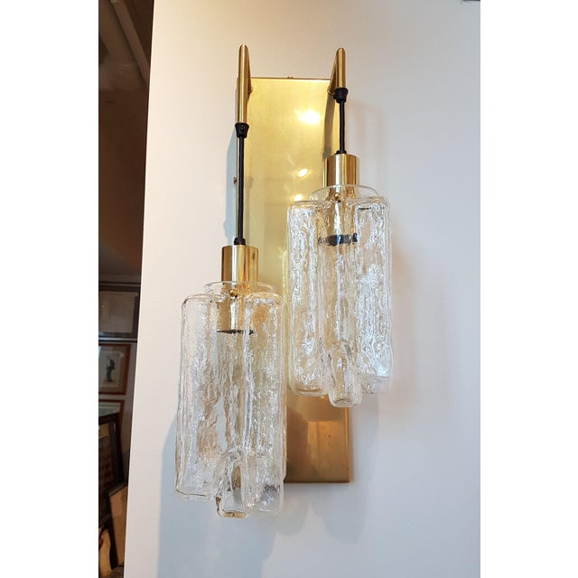 1960s Murano Glass Kalmar Brass Mid Century Modern 2-Lights Sconces - a pair For Sale - Image 5 of 9