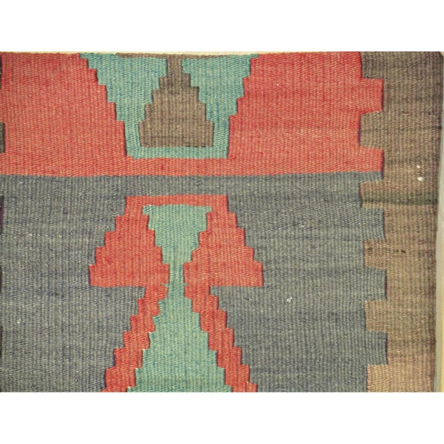 1960s handmade vintage kilim pillow. 100% wool with natural vegetable dye and cotton back with zipper closure.
