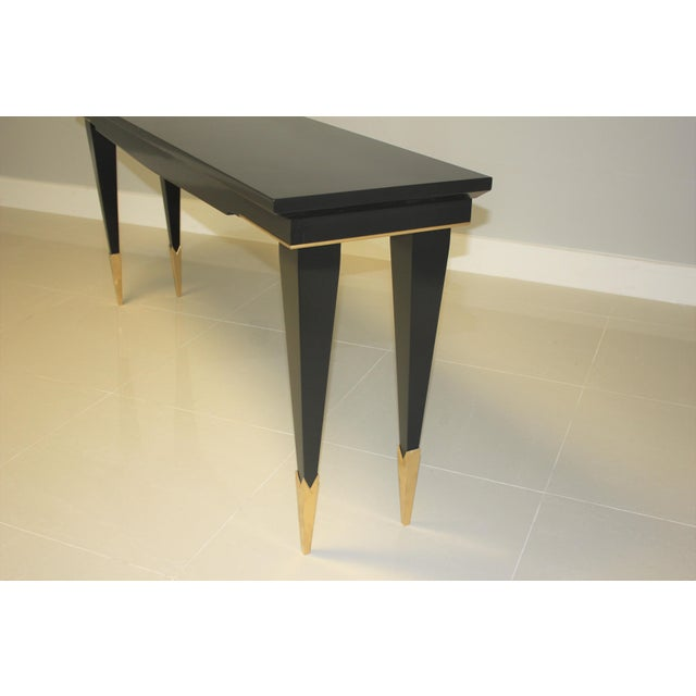 Brass 1940s French Art Deco Ebonized Console Table For Sale - Image 7 of 13