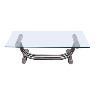 Design Institute America Art Deco Style Chrome and Glass Coffee Table For Sale
