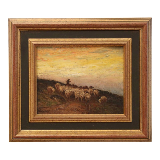 American Barbizon Painting of Sheep at Evening by Francis Wheaton For Sale