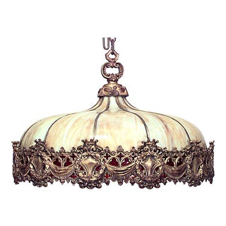 American Victorian Leaded Glass and Bronze Chandelier For Sale