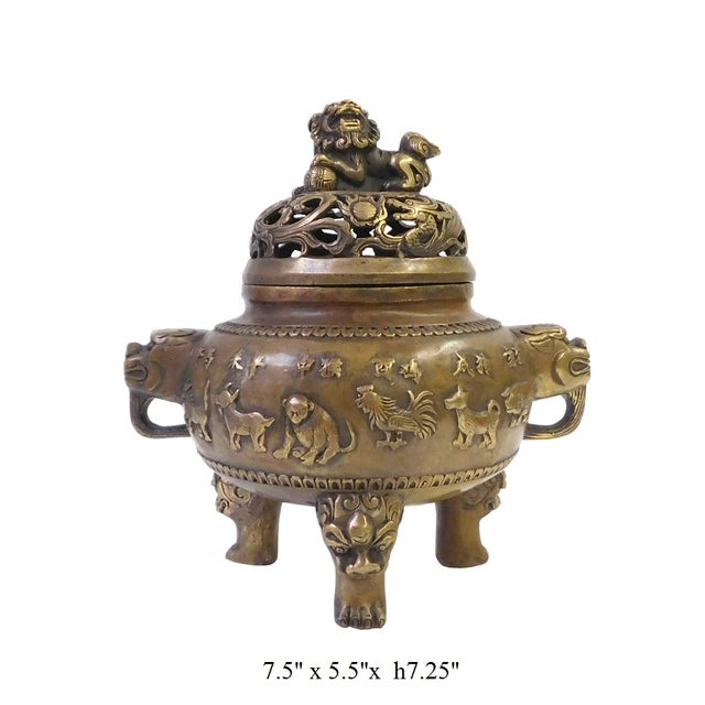 12 Zodiac Bronze Metal Incense Burner - Image 7 of 7