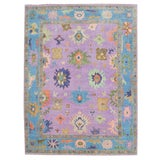 "Image of Colorful Oushak Hand-Knotted Wool Rug - 8'9""x12' For Sale"