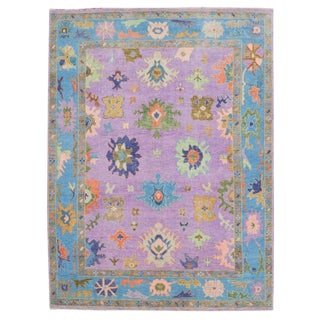 "Colorful Oushak Hand-Knotted Wool Rug - 8'9""x12' For Sale"