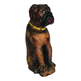 Vintage Carved Wooden Dog Bottle Hider For Sale