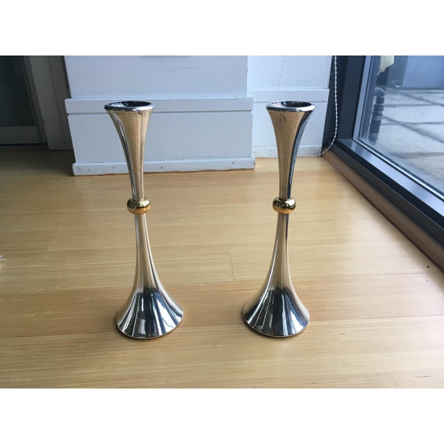 Jens Quistgaard for Dansk Gold and Silver Candleholders - a Pair For Sale In Chicago - Image 6 of 6