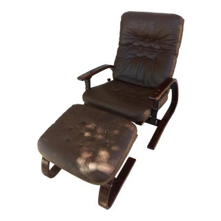 Scandinavian High Back Lounge Chair & Ottoman For Sale