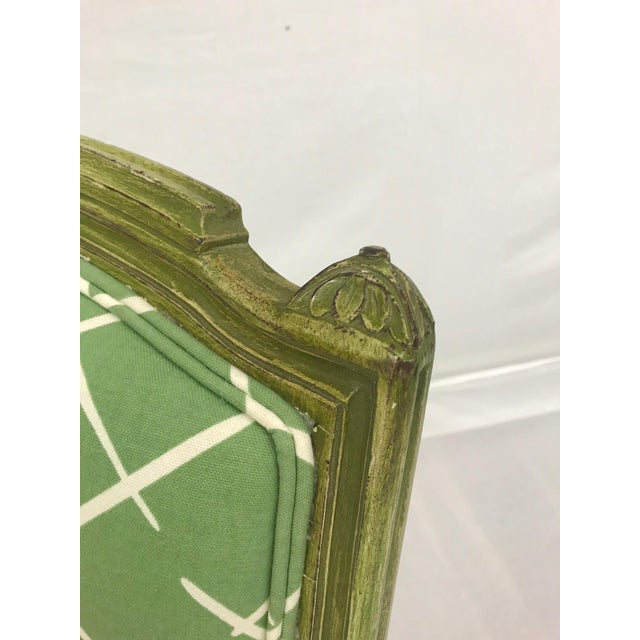 French Style Green-Painted Slipper Chairs - A Pair For Sale - Image 9 of 13